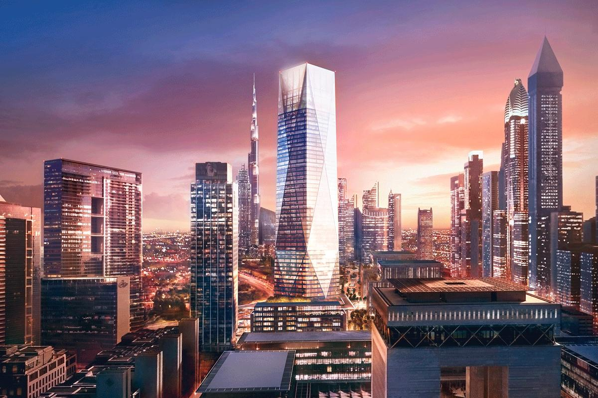 The tower will rise to a total height of 282.3 m (926 ft) and be topped by three executive suites