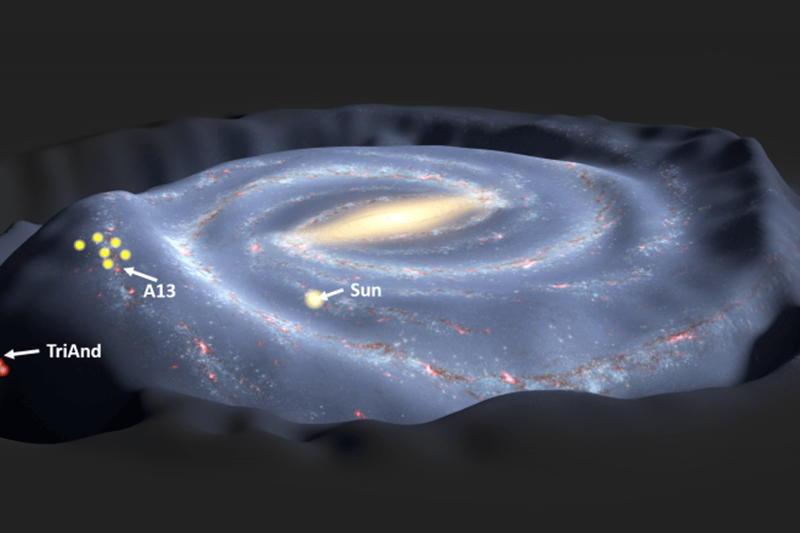 Graphic showing the locations of Tri-And and A13 as oscillations, or waves created by a nearby dwarf galaxydisturb the Milky Way