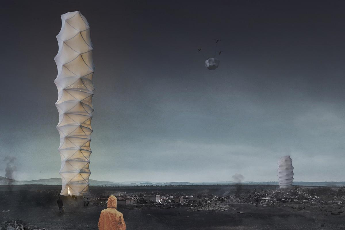 The winner of the 2018 eVolo Skyscraper contest, designed by Poland's Damian Granosik, Jakub Kulisa, and Piotr Pańczyk, is a skyscraper concept dreamt up to bring relief to disaster-struck areas
