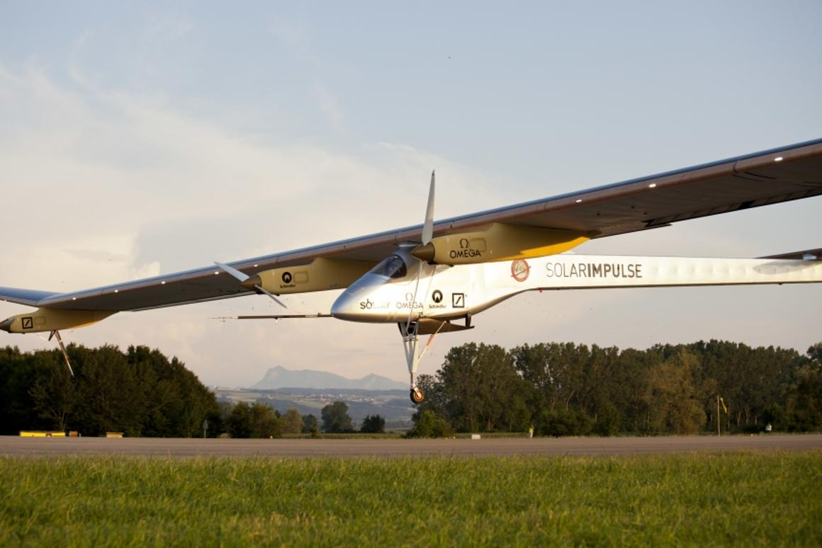 Solar Impulse comes in the land in Payerne, marking the end of the first ever solar-powered intercontinental roundtrip journey (Photo: Solar Impulse - Laurent Kaeser)
