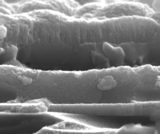 Cross-sectional SEM image showing the various compounds of a new chalcopyrite solar cell created with inkjet printing (Image: OSU)
