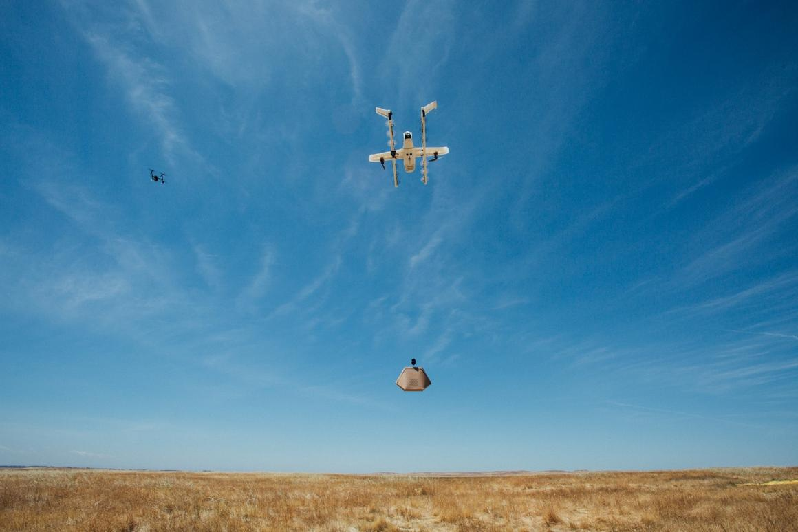 Alphabete's Wing drone in action during testing