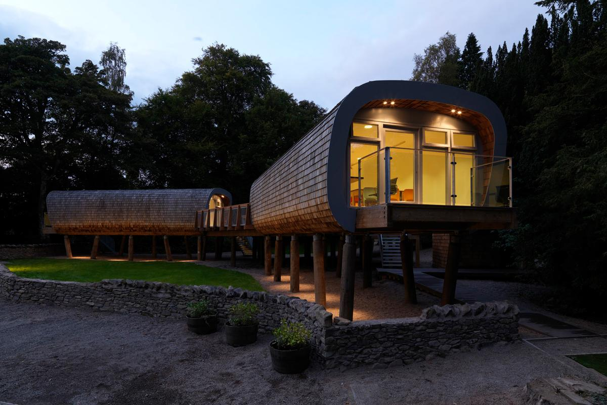 The Forest School features up-cycled, recycled and low-impact architecture and design