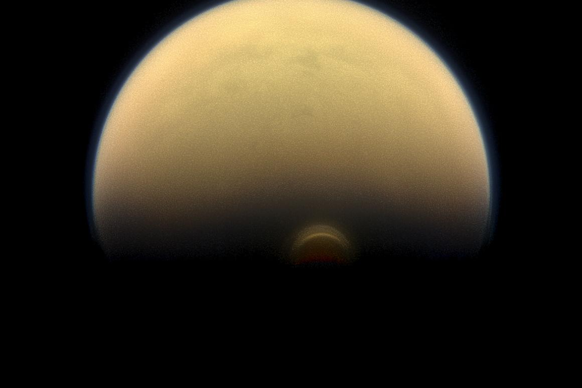 Image of Titan's south polar vortex, a hallmark of the winter season in the moon's southern hemisphere