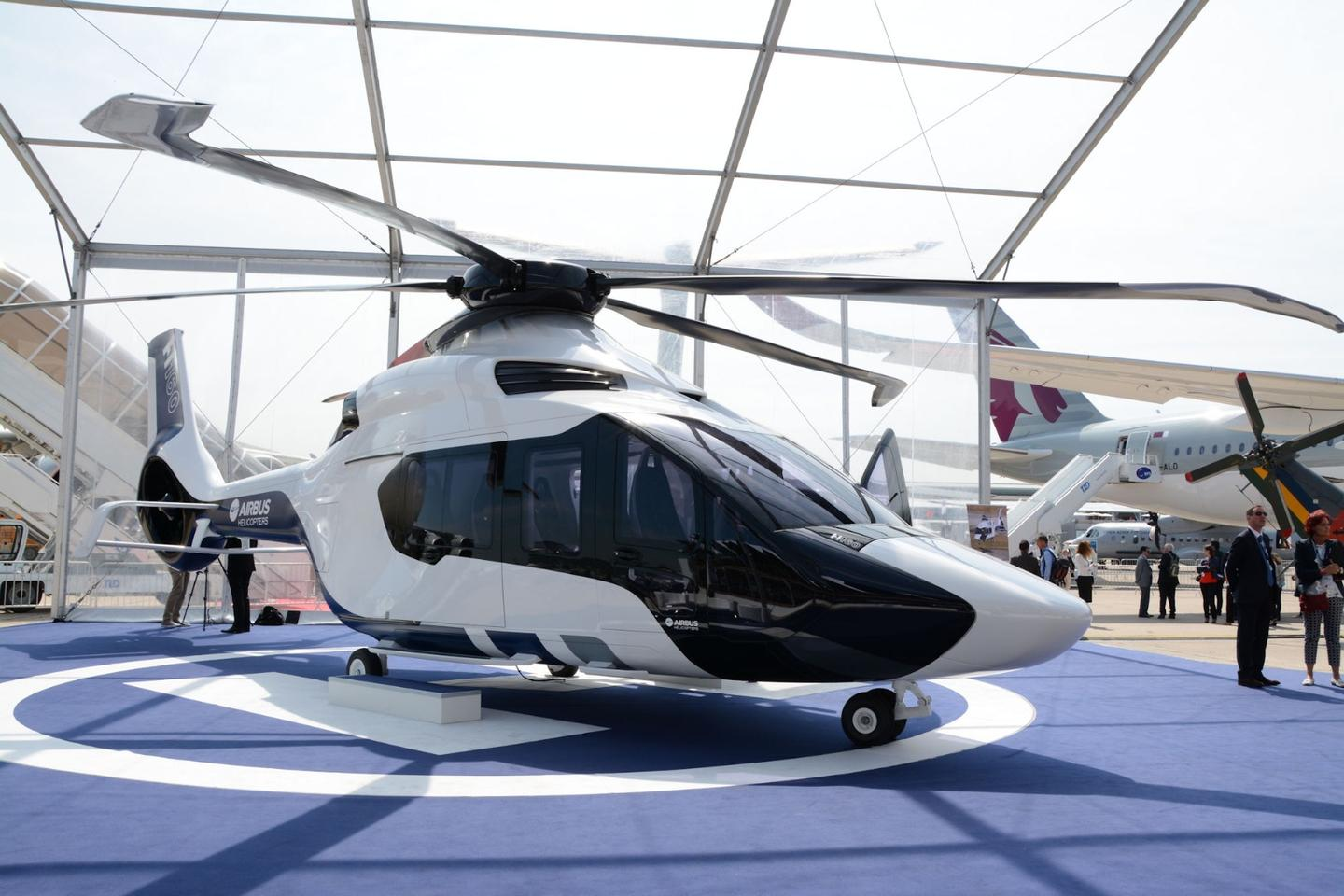 A full-size model of the Airbus H160, on display at the Paris Air show