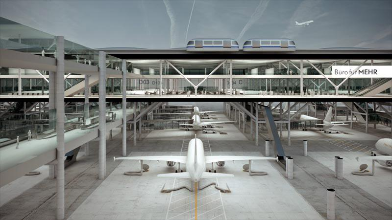 Design studio Büro für MEHR has created a drive through concept for an airport passenger terminal that could change the way airports process traffic