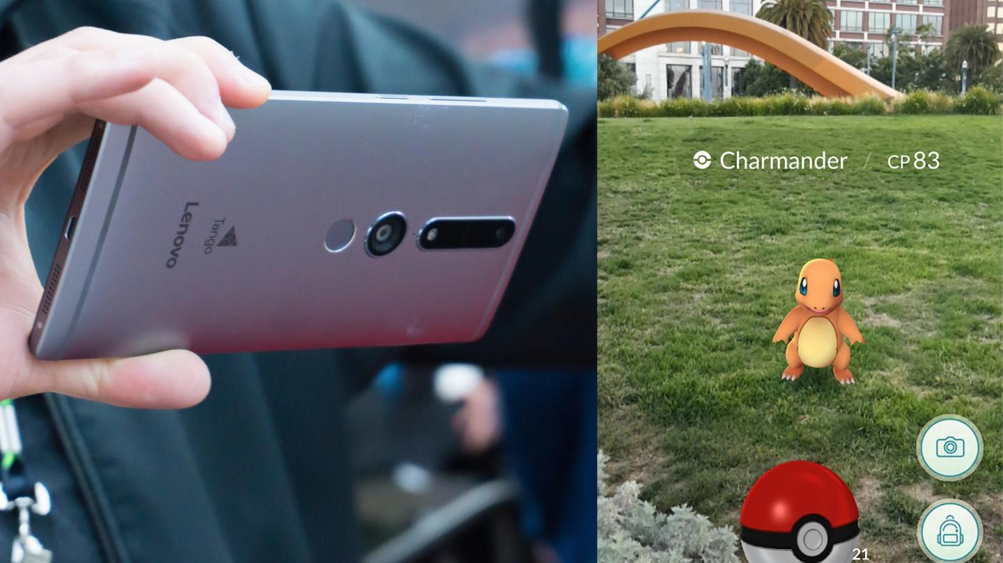 Nothing has been announced, but the potential marriage between the AR-focused Lenovo Phab2 Pro (left) and the world-beating ARgaming sensation Pokémon Go could be a mainstream ARmatch for the ages