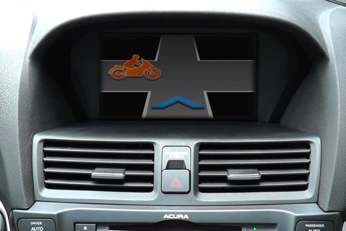 Honda's DSRC safety system warns the driver their path is about to intersect with a motorcycle