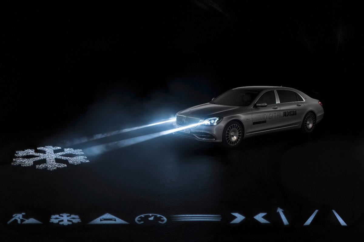 Mercedes-Maybach's Digital Light can paint all sorts of useful symbols on the road in bright, high-resolution light from the headlamps