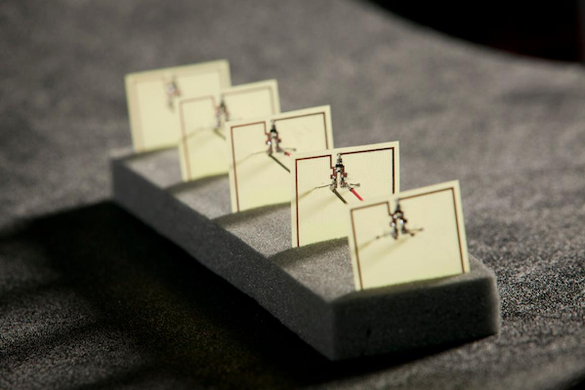 The five-cell metamaterial array developed by Duke engineers that converts stray microwave energy, as from a Wi-Fi hub, into more than 7 V of power with an efficiency of 36.8 percent