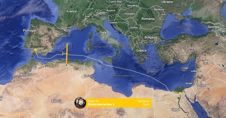 Flight path of Solar Impulse 2
