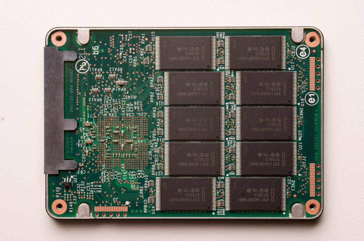 The NAND flash technology inside of an Intel SATA Solid-State Drive