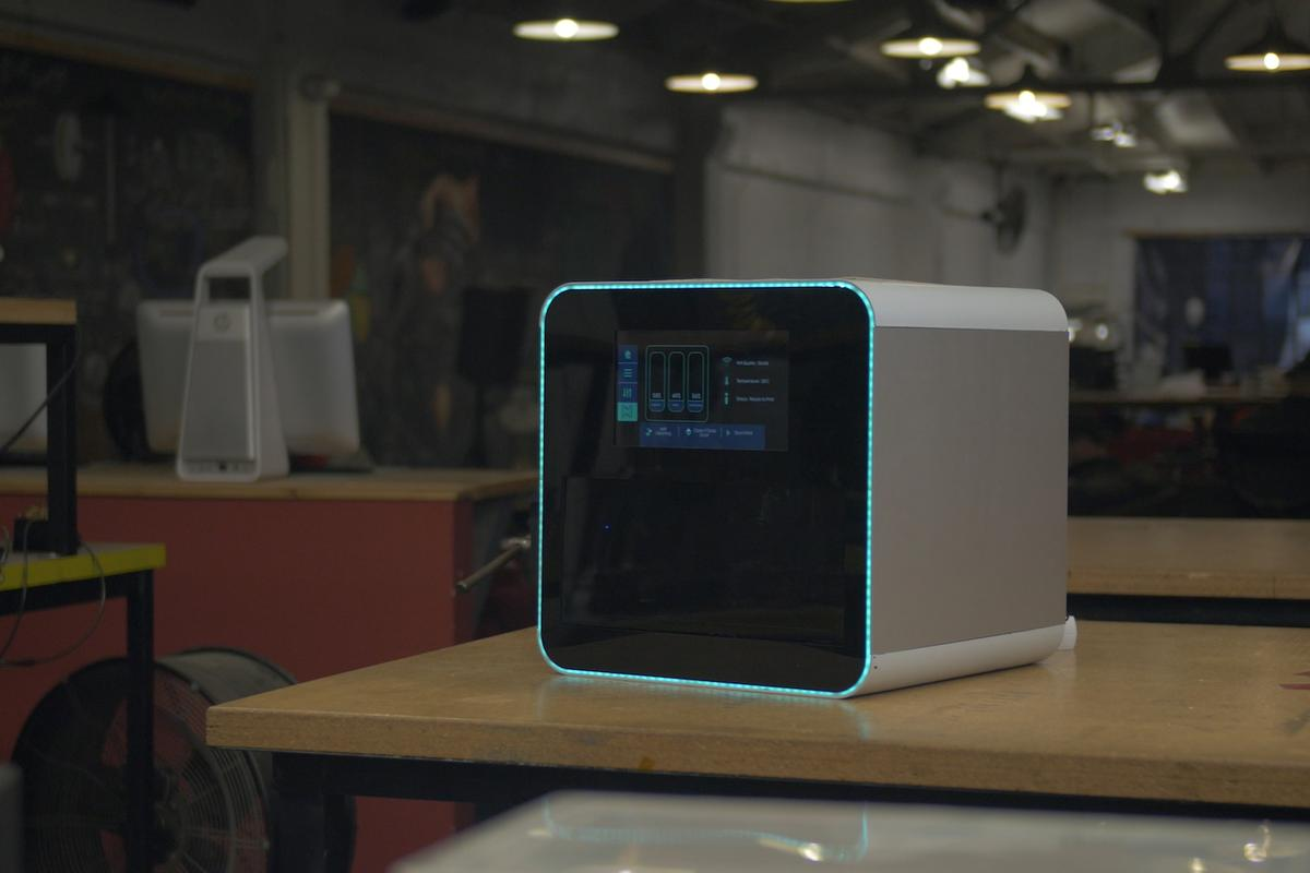 From Next Dynamics, the NexD1 is a home 3D printer that can print with multiple materials, including conductive resins for creating circuit boards