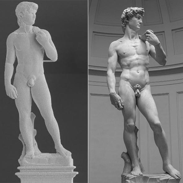 A millimeter-tall 3D-printed metal replica of Michelangelo's David to the left, and the original marble masterpiece to the right