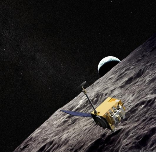An artist's impression of the LRO spacecraft taking hi-res images of the moon's surface (Image: NASA)