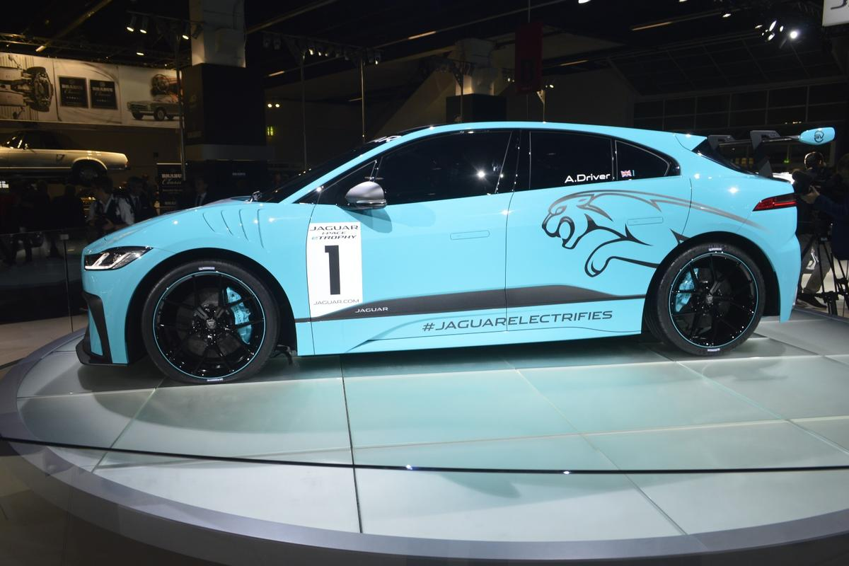 The new series from Jaguar will exclusively feature Jaguar I-Pace eTrophy race cars like this one on display in Frankfurt