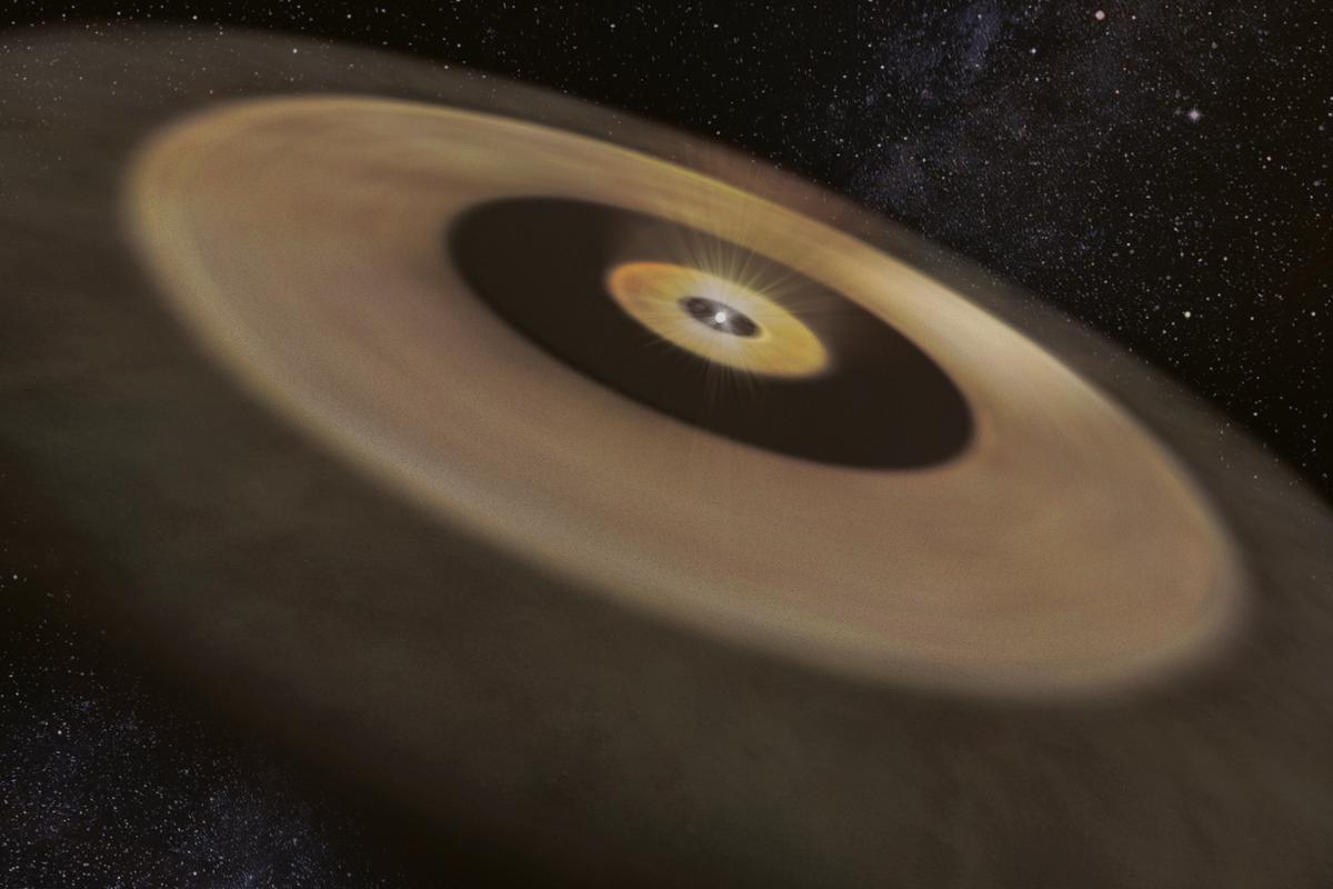 An artist's impression of the two dust disks surrounding the nearby young star DM Tau, which could give birth to a planetary system like our own