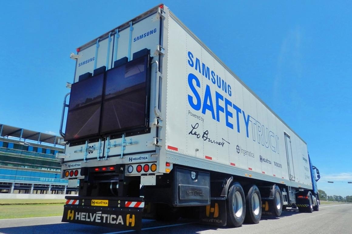 The Safety Truck is Samsung's solution to a problem experienced by many a motorist