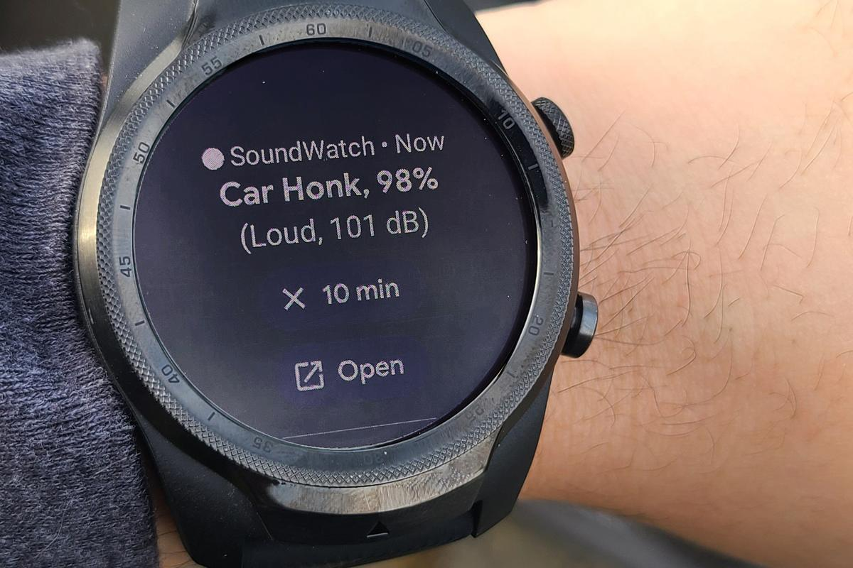 The SoundWatch system alerts hard-of-hearing users with vibrations and visual information about important sounds