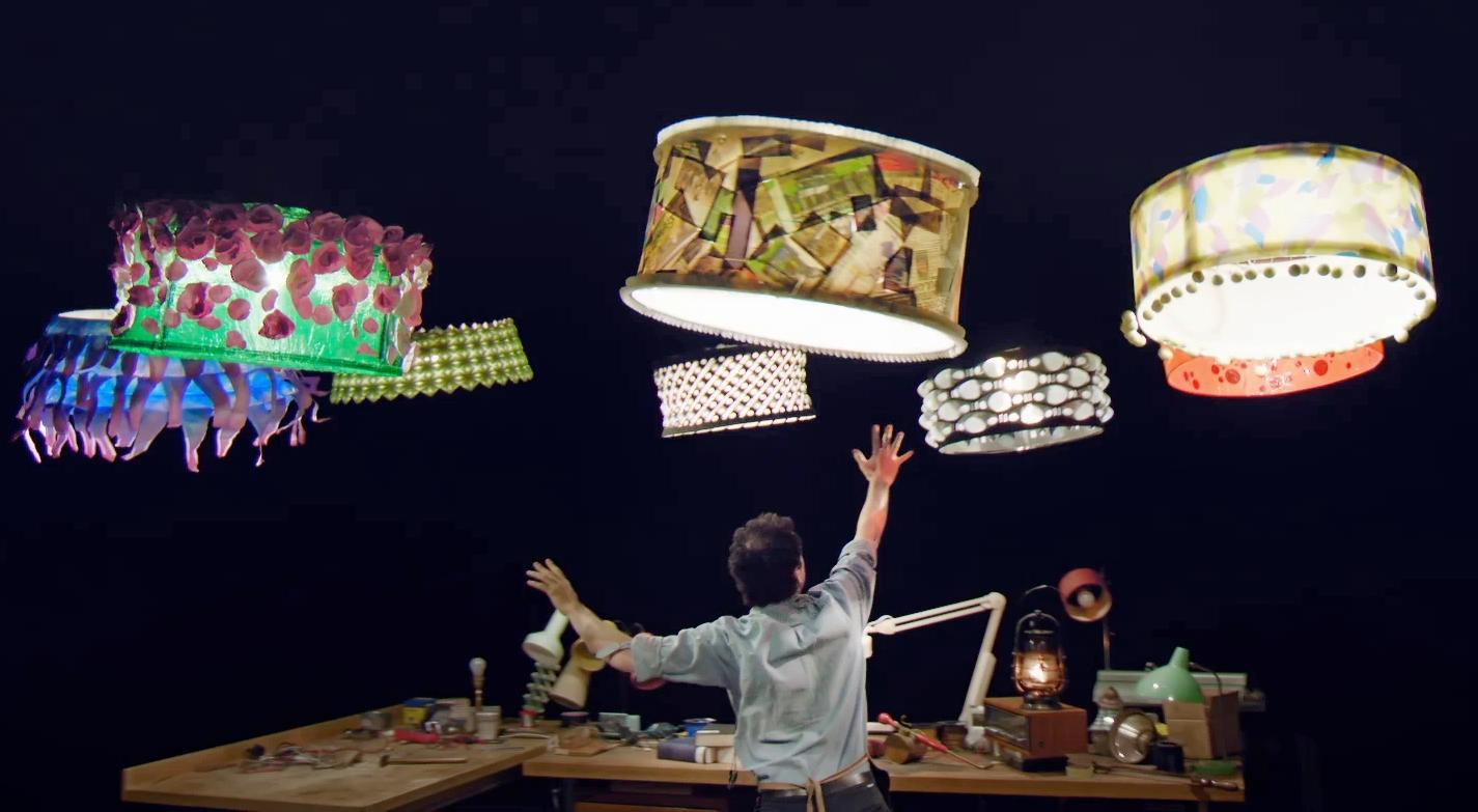 Illuminated lampshades take to the air (with a little help from a drone inside each one), in Sparked