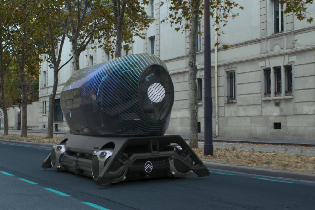 The Pullman Power Fitness pod for the Citroën skate incorporates rowing and exercise machines inside the glassy bubble