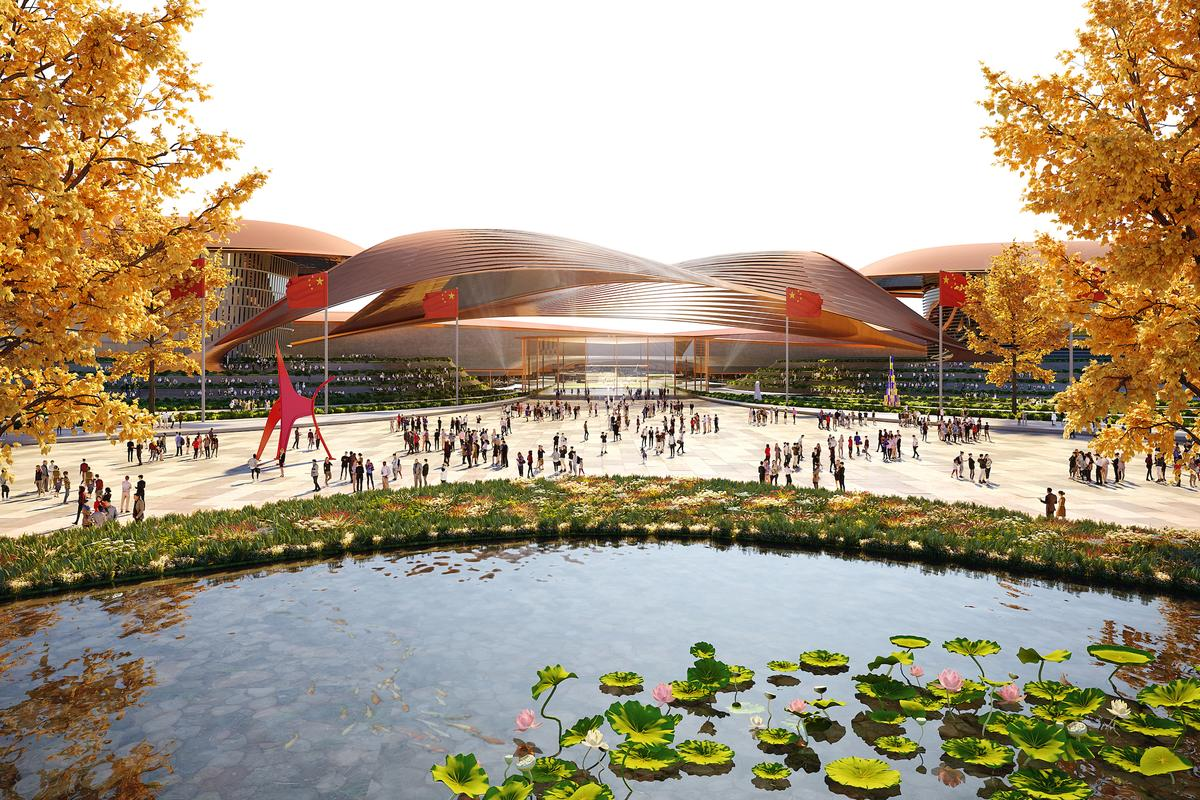 Phase II of the International Exhibition Centre in Beijing will include extensive landscaping