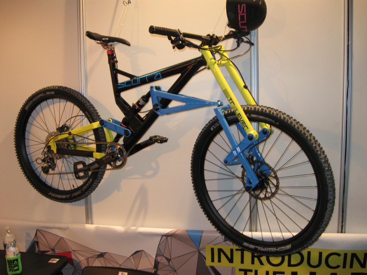 The dual-suspension Hard Enduro mountain bike has two rear shocks ... although one of them serves as a front shock