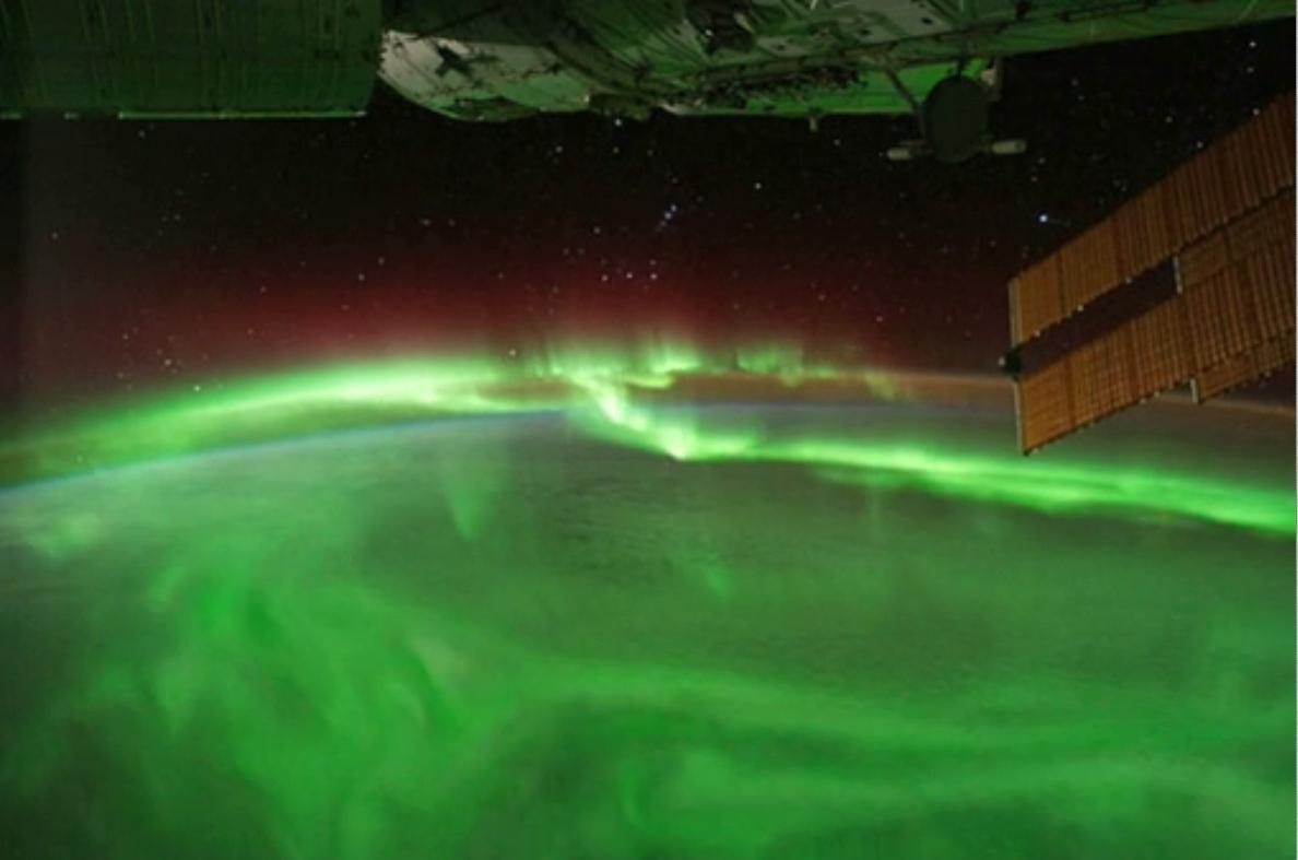 A striking view of an aurora as seen from the International Space Station in September 2011