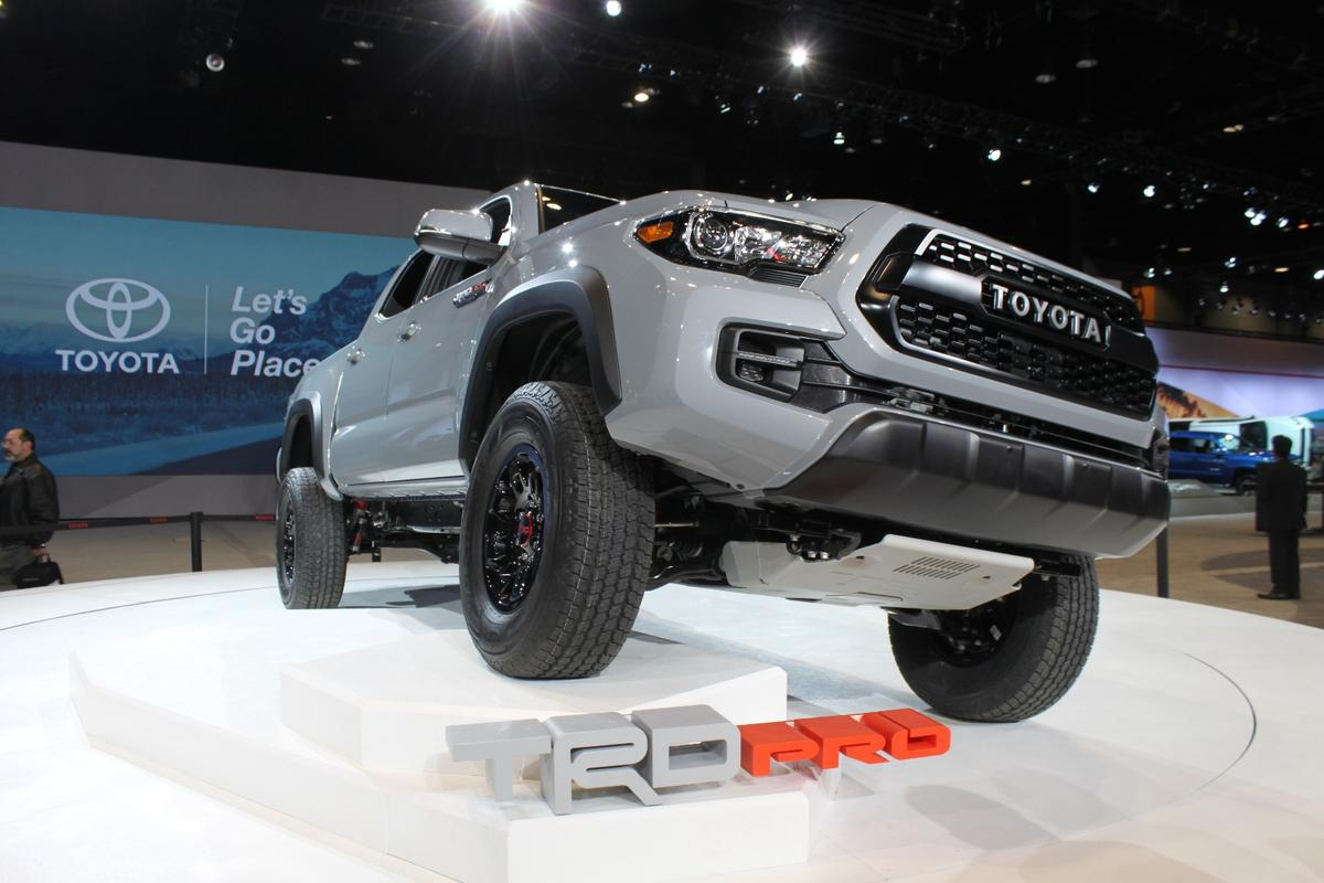 Unders its skin, this new Tacoma TRD Pro includes TRD-tuned FOX 2.5 Internal Bypass shock absorbers, TRD-tuned front springs with a 1-inch lift, and a progressive-rate offroad leaf spring for the TRD-tuned rear suspension