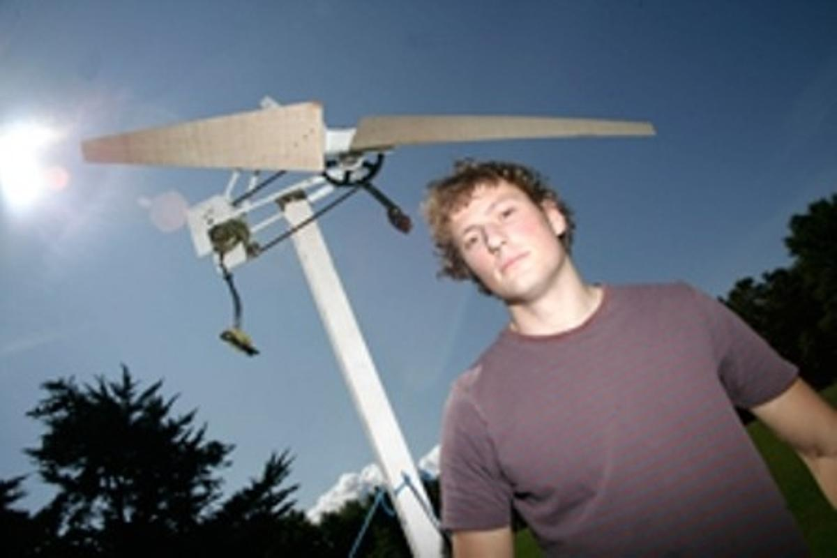 Max Robson with the low-cost turbine