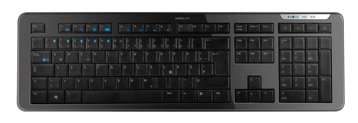 The combination of 12 multimedia keys and additional hotkeys ensures that all OS-specific special keys are covered