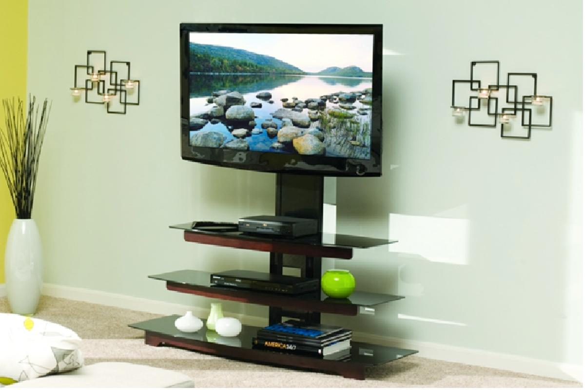 The 'no drill' flat panel TV mount from Sanus attaches to a shelf unit, positioning the TV at the right viewing height and angle without the need to drill into walls