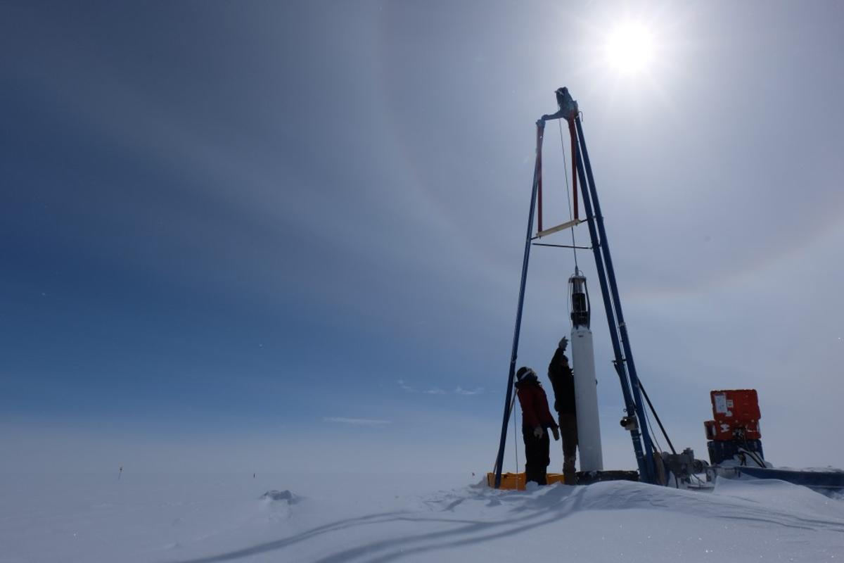 An ice core being removed to study historic methane emissions