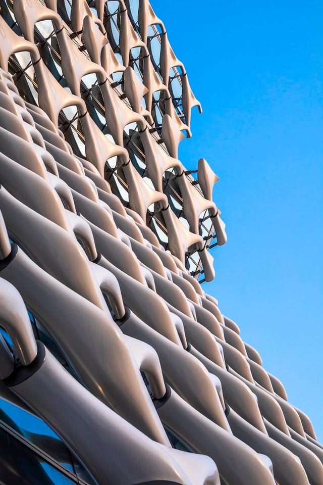 The Kolon One & Only Tower sports a very striking brise-soleil (sunscreen) made from interconnected fiber-reinforced plastic panels