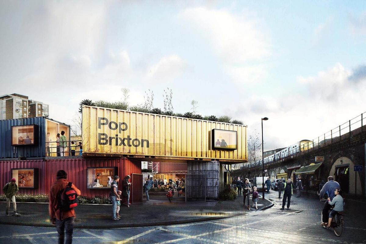 Pop Brixton is a planned temporary shipping container village, housing local independent businesses in Brixton