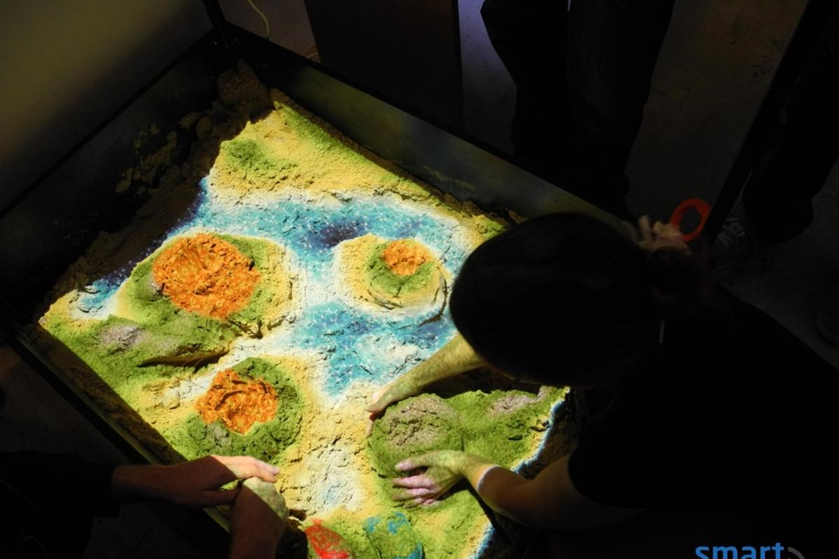 The Xbox Kinect turns an ordinary sandbox into a thriving interactive environment.