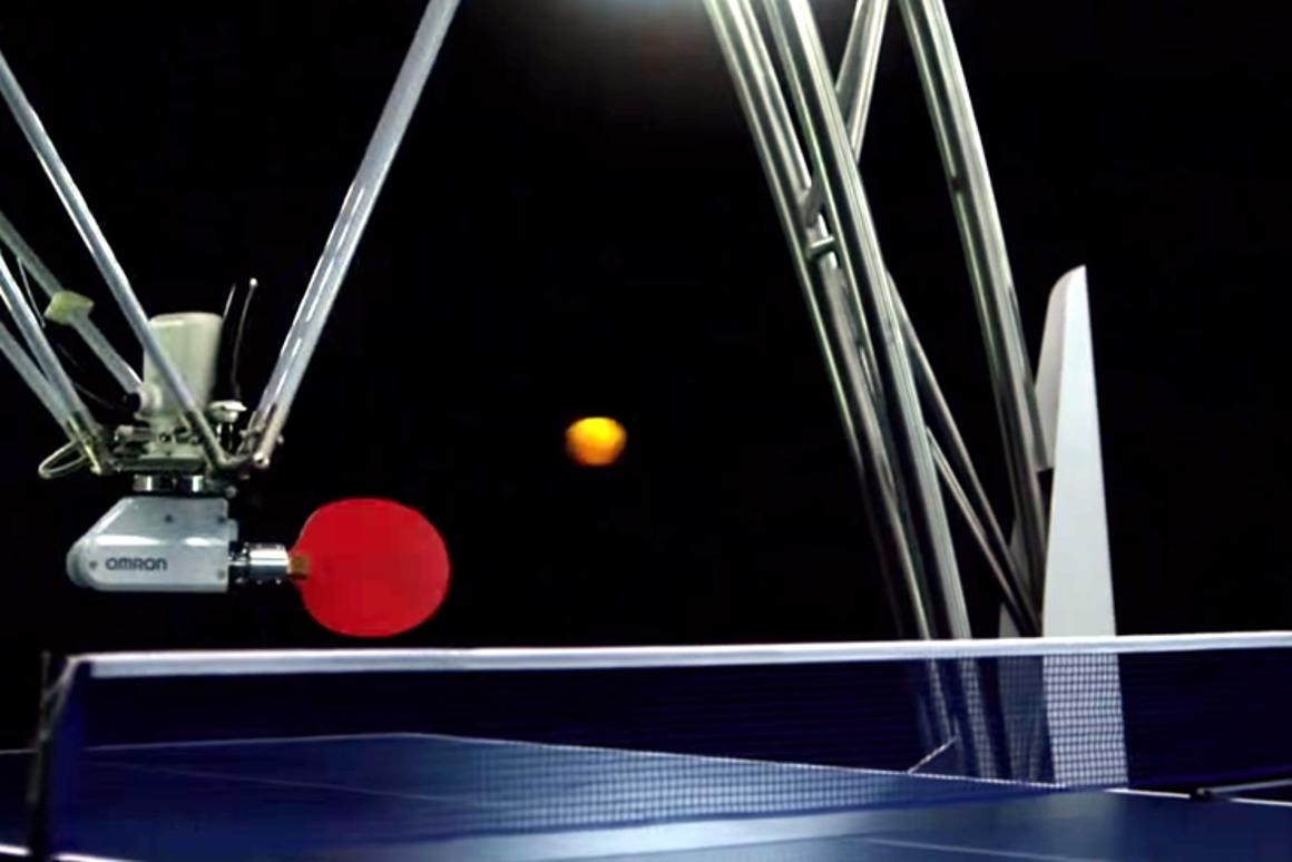 Omron has unveiled a ping-pong playing robot