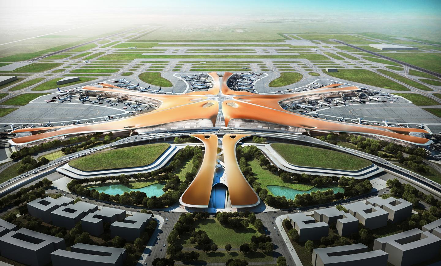 The Beijing New Airport Terminal Building will be constructed in Beijing's Daxing District and take the form of a massive mutant starfish (Image: Zaha Hadid Architects)
