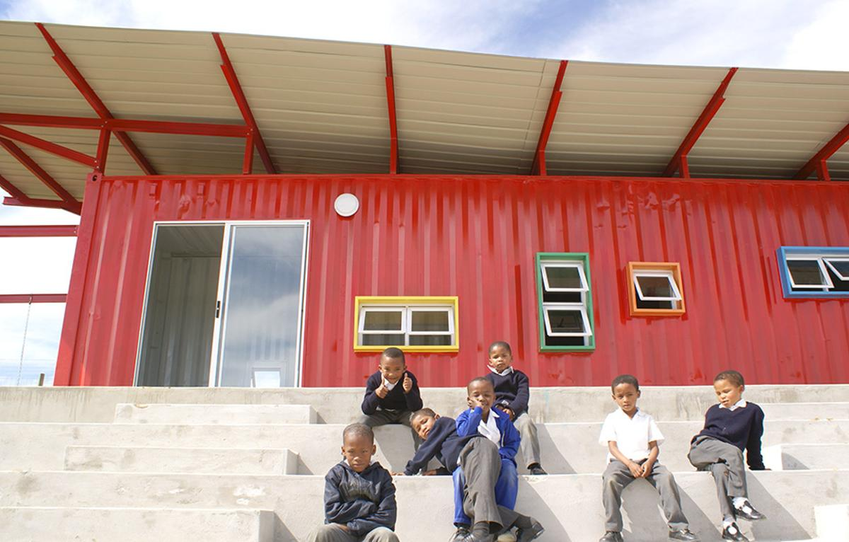 The 39-foot (12-meter) long, 538-sq foot (50-sq m) container is living a second life as a classroom for 5-6-year old pupils at the Vissershok School, Cape Town, South Africa