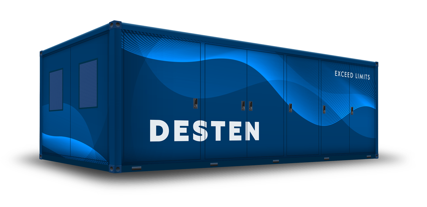 Desten's ultra-fast charge stations will have their own bulk energy storage on site, apparently in the form of a shipping container-sized battery block acting as a buffer between the grid and the car
