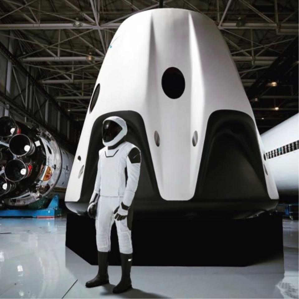 The spacesuit is designed to be used by astronauts aboard the Crew Dragon space capsule