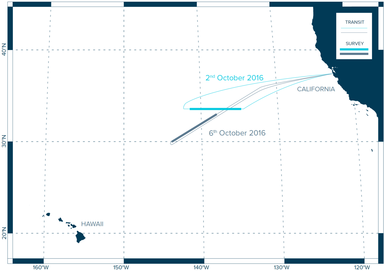 Map of the survey routes carried out from the air by the Ocean Cleanup Project in 2016