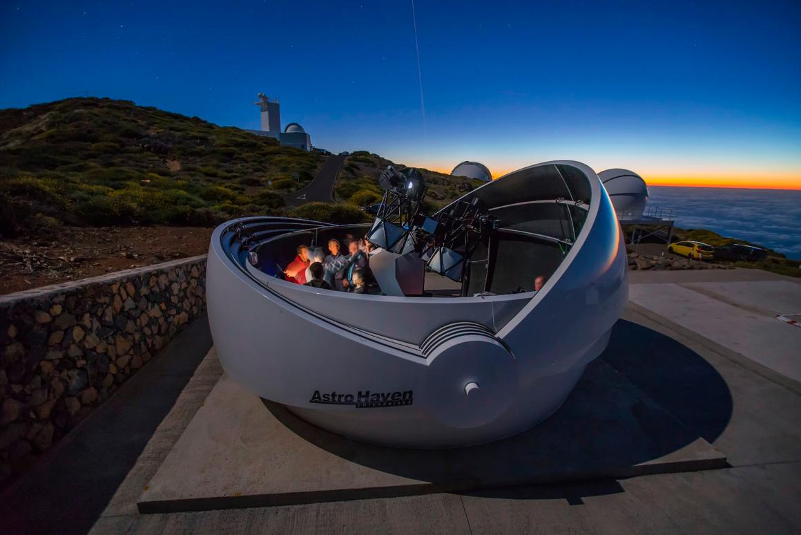An artist's rendition of theGravitational-wave Optical Transient (GOTO) telescope, which has just come online in Spain to help hunt down optical signatures of gravitational waves