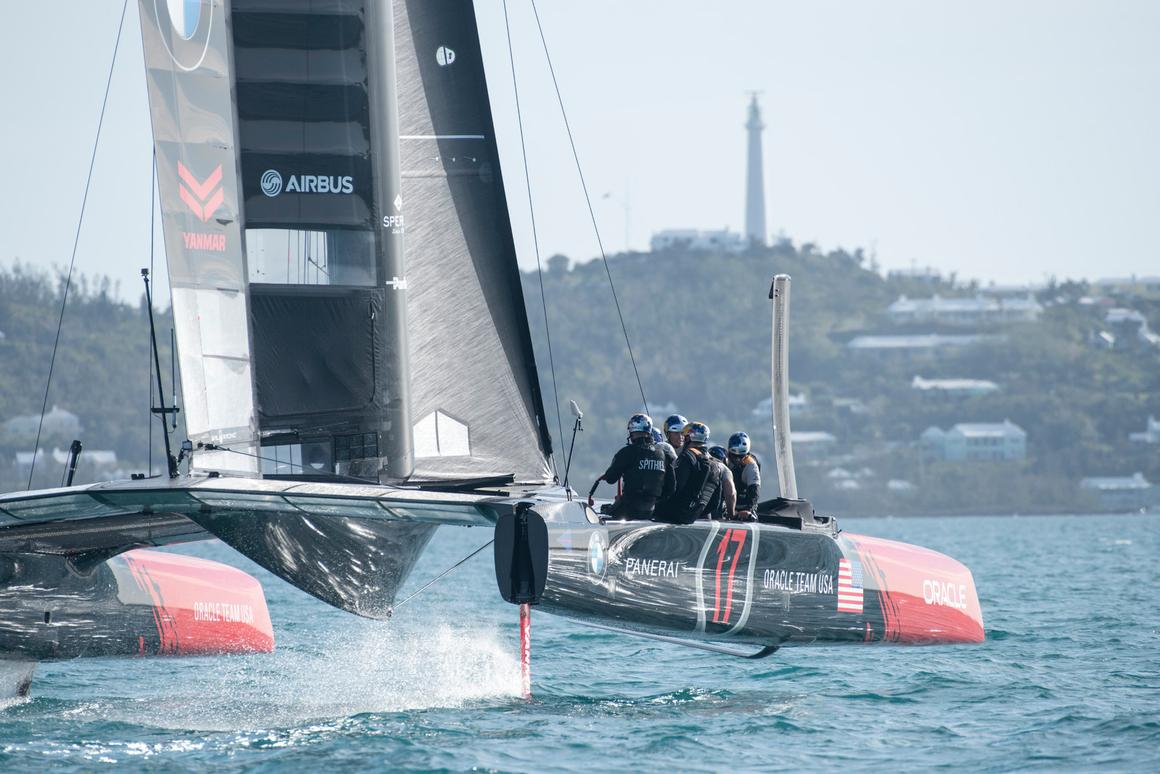 Oracle Team USA on their practice yacht in Bermuda