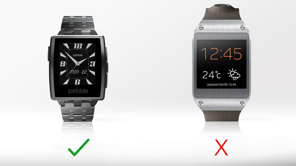 The Pebble Steel's always-on display is one of its biggest advantages over the Galaxy Gear