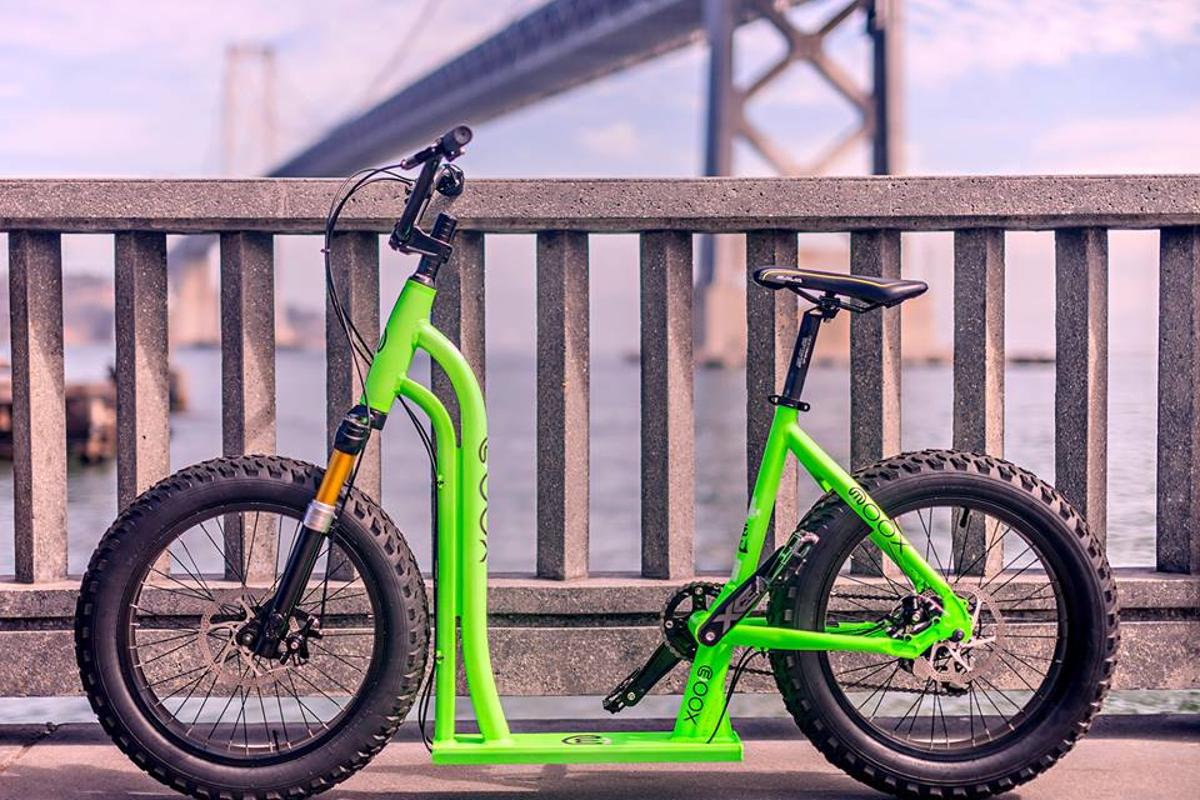 The Moox Bike can be kicked along or pedalled