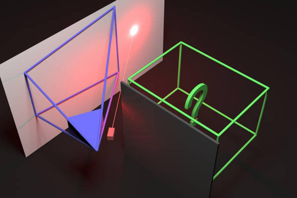 The camera uses diffused light instead of mirrors to see around corners
