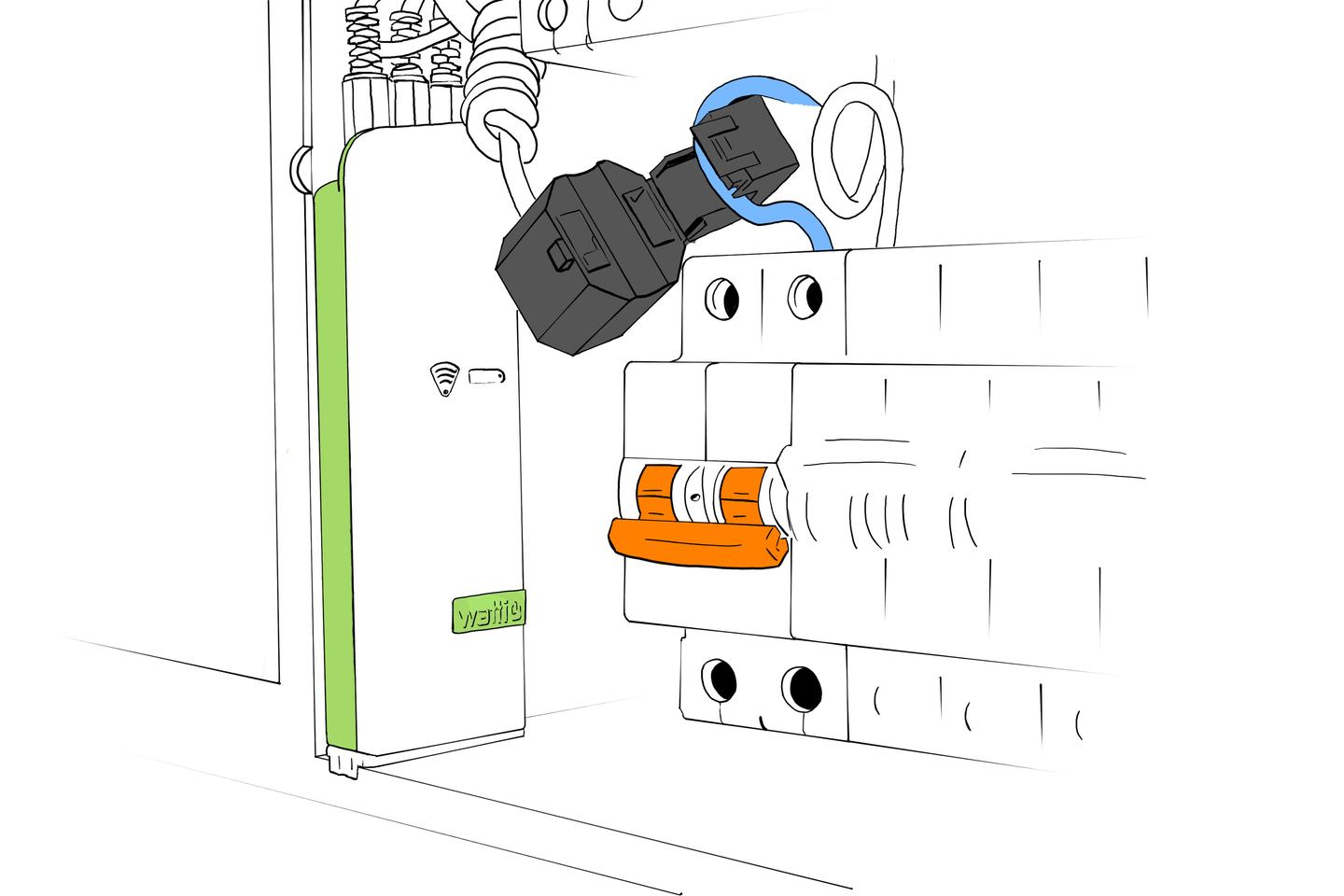 The BAT is a battery-powered energy monitor that fits inside the home electric box and can work for up to three circuits (Image: Wattio)