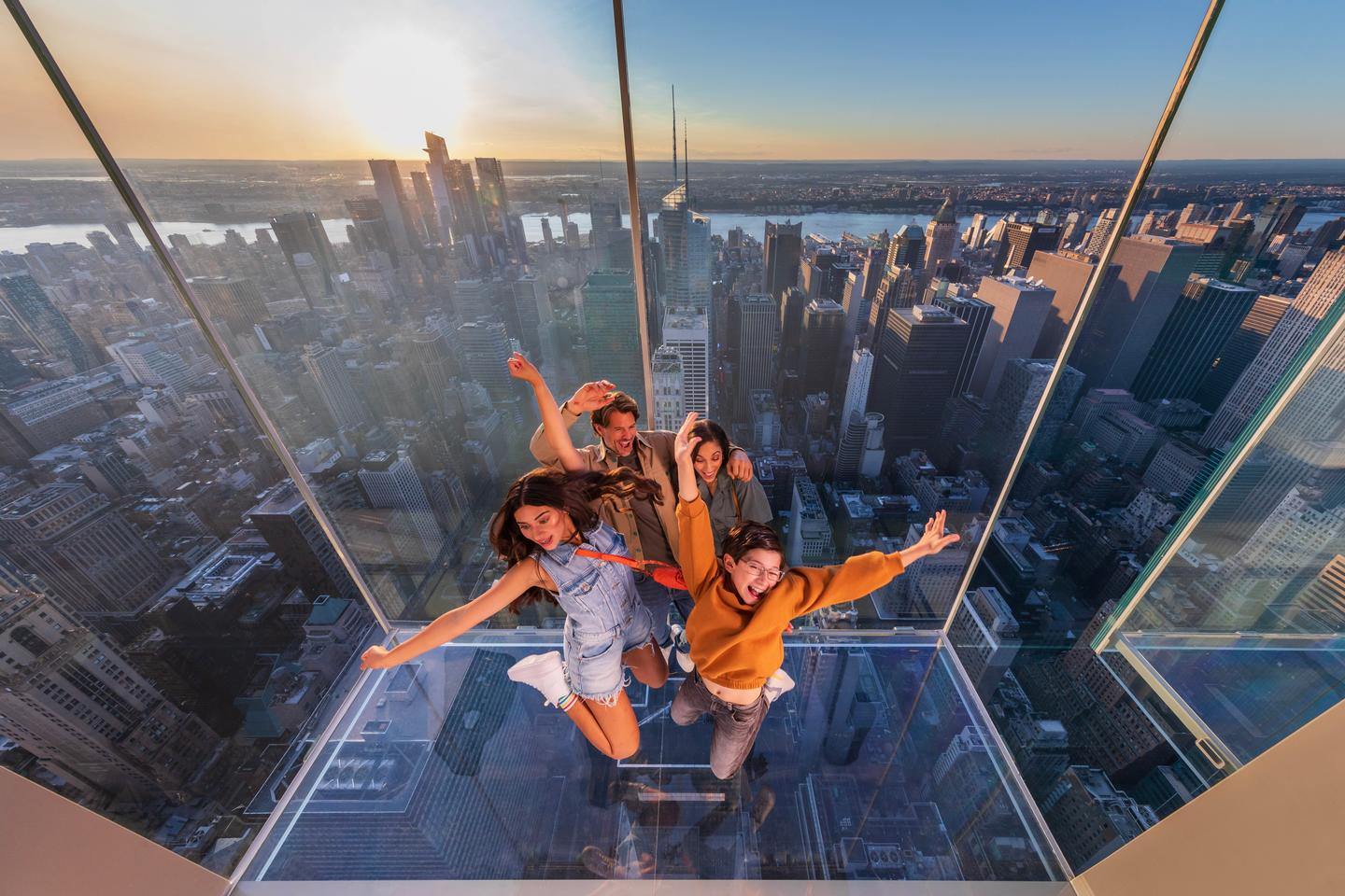 Summit One Vanderbilt's Levitation attraction consists of glass boxes jutting out the side of the skyscraper, letting visitors step out of the main building