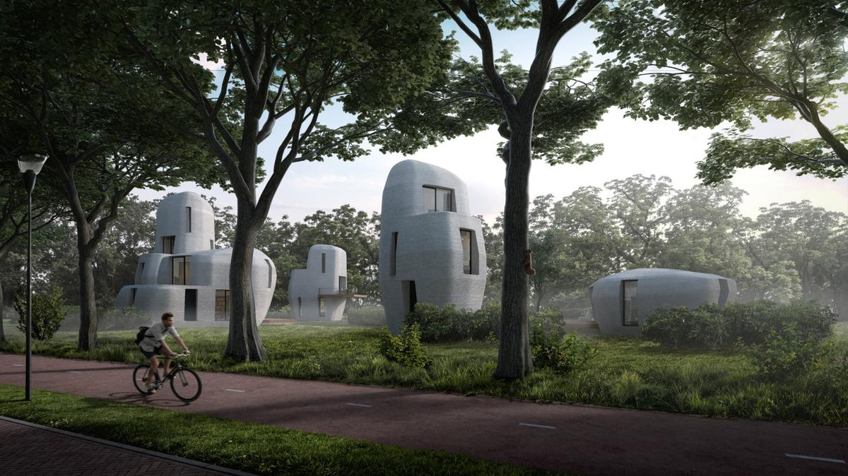 ProjectMilestonewill consist of five 3D-printed houses designed to look like large stones